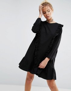 Read more about Asos cotton smock dress with frill detail - black