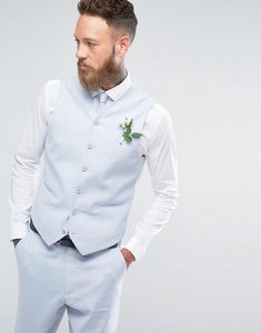 Read more about Asos wedding skinny suit waistcoat in light blue stretch linen cotton - light blue