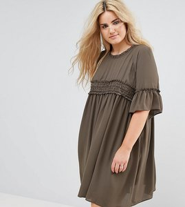 Read more about Asos curve shirred smock dress - khaki