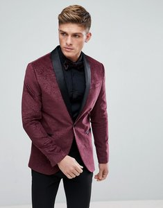 Read more about Kiomi velvet blazer with jacquard design in red - red