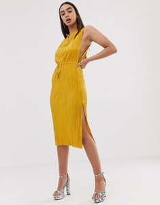 Read more about Asos design midi plisse dress with drawstring waist