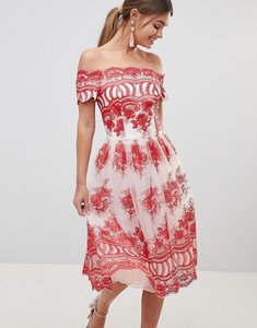 Read more about Chi chi london premium lace dress with placement embroidery - white red