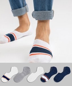 Read more about Asos design invisible liner socks in orange blue with stripe toes 5 pack - multi