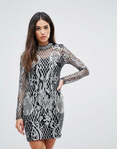 Read more about Club l high neck sequin embroidery dress - silver