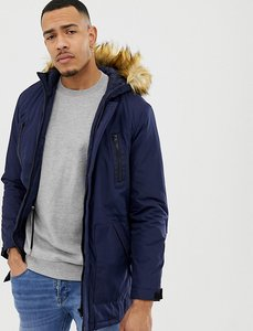 Read more about Asos tall parka jacket with faux fur trim in navy - navy