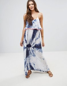 Read more about Anmol neon trim maxi tie dye beach dress - white blue