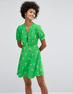 Read more about Asos short sleeve floral tea dress with zip detail - green