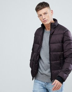 Read more about New look puffer jacket with concealed hood in burgundy - dark burgundy