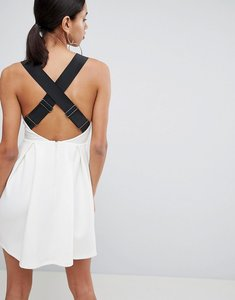 Read more about Asos premium pinafore dress with wide elastic straps - cream