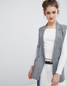 Read more about Bershka pin stripe sleeveless blazer - grey