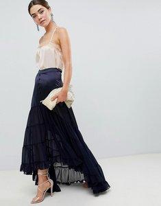 Read more about Asos design satin mix tiered hem maxi skirt - navy