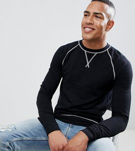 Read more about Asos design tall muscle fit sweatshirt in black with contrast stitching - black white