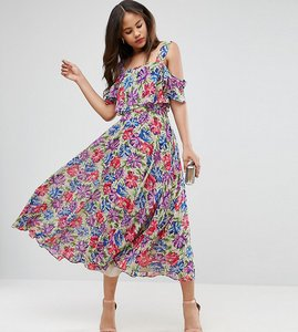 Read more about Asos tall cami cold shoulder flutter sleeve midi dress in floral print - floral