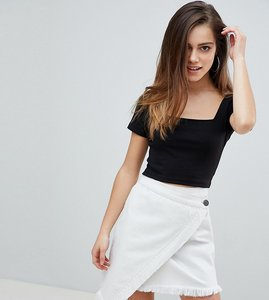 Read more about Missguided petite square neck ribbed crop top - black