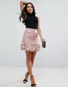 Read more about Asos bubble hem mini skirt in leather look - pink