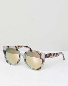 Read more about Asos chunky round sunglasses in milky tort and flash lens - tortoise
