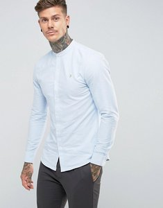 Read more about Farah brewer slim fit grandad oxford shirt in sky blue - sky blue 468