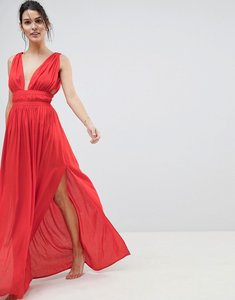 Read more about Asos design grecian plunge maxi woven beach dress - red
