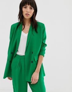 Read more about Selected femme double breasted long blazer - jolly green