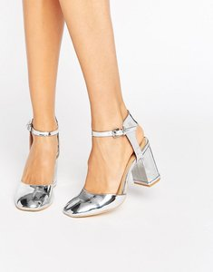 Read more about Glamorous silver metallic ankle strap heeled shoes - silver metallic
