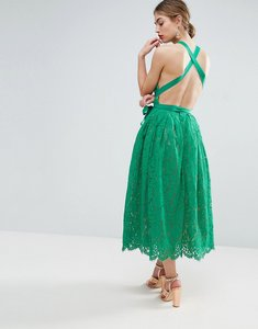 Read more about Asos salon lace pinny backless full midi prom dress - green