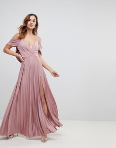 Read more about Asos cold shoulder cowl back pleated maxi dress - rose