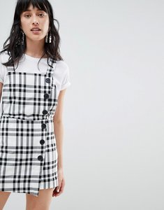 Read more about Stradivarius check print dungaree dress - multi