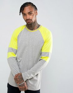 Read more about Asos longline long -sleeve raglan t-shirt with neon colour block arm panels - grey marl