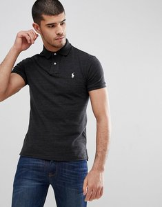 Read more about Polo ralph lauren slim fit pique polo in washed black marl - black marl heather