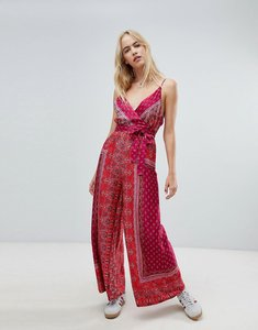 Read more about Free people cabbage rose wrap front printed jumpsuit - pink combo