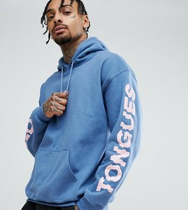 Read more about Crooked tongues hoodie with sleeve print in blue - blue