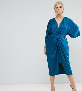 Read more about Asos curve kimono twist front midi dress - cobalt