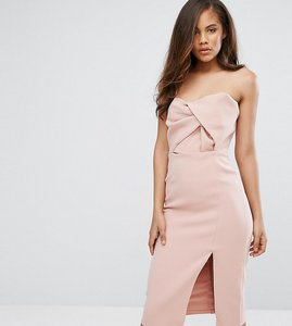Read more about True decadence tall exagerated bow detail bandeau midi dress - nude