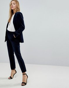 Read more about Miss selfridge velvet tailored trousers - navy