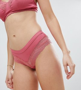 Read more about New look maternity fine rib lace brazilian brief - pink