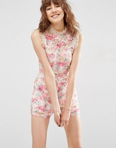 Read more about Asos high neck printed occasion lace playsuit - multi