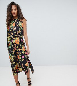 Read more about Asos design tall one shoulder balloon sleeve midi dress in floral print - multi