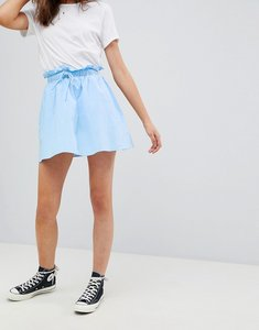 Read more about Asos design cotton mini skater skirt with pockets - blue