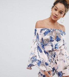 Read more about Parisian petite off shoulder floral playsuit - pink blue