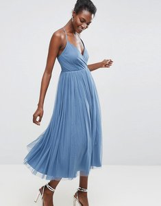 Read more about Asos pinny extreme tulle mesh midi dress - dusky blue