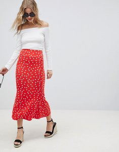 Read more about Asos design midaxi skirt with kickflare in polka dot - red white