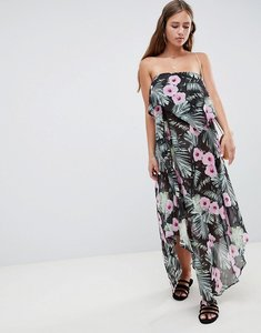 Read more about Asos design floaty layer bandeau maxi beach dress in tropical print - tropical print
