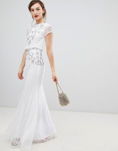 Read more about Frock frill capped sleeve chiffon overlay maxi dress with embellished detail - white