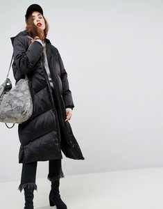 Read more about Asos longline puffer coat - black