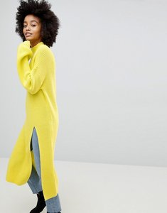 Read more about Asos chunky knitted layering dress with front split and high neck - yellow