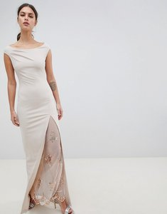 Read more about City goddess off the shoulder maxi dress with lace split detail - pale pink
