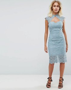 Read more about Chi chi london crochet lace midi pencil dress with scalloped back - slate grey