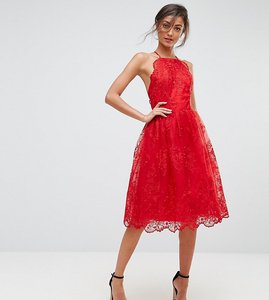 Read more about Chi chi london tall high neck scalloped lace dress - red