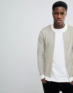 Read more about Asos design muscle fit knitted bomber jacket in oatmeal twist - oatmeal