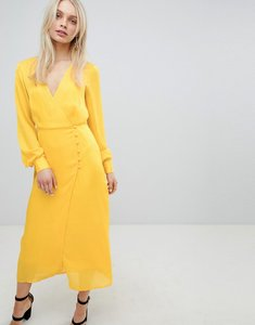 Read more about Asos design button through maxi dress in jacquard - yellow